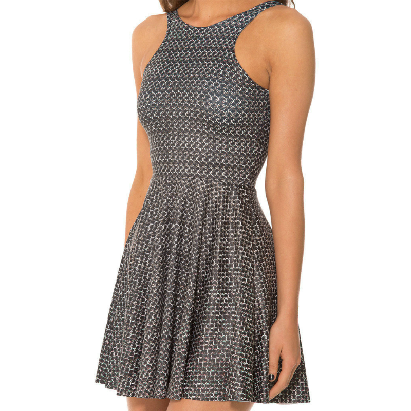Dress Women Metallic Colored Iron Chain 3D Printing Sleeveless Vest and Loose Skirt with Soft Polyester for Girls Tennis Dress