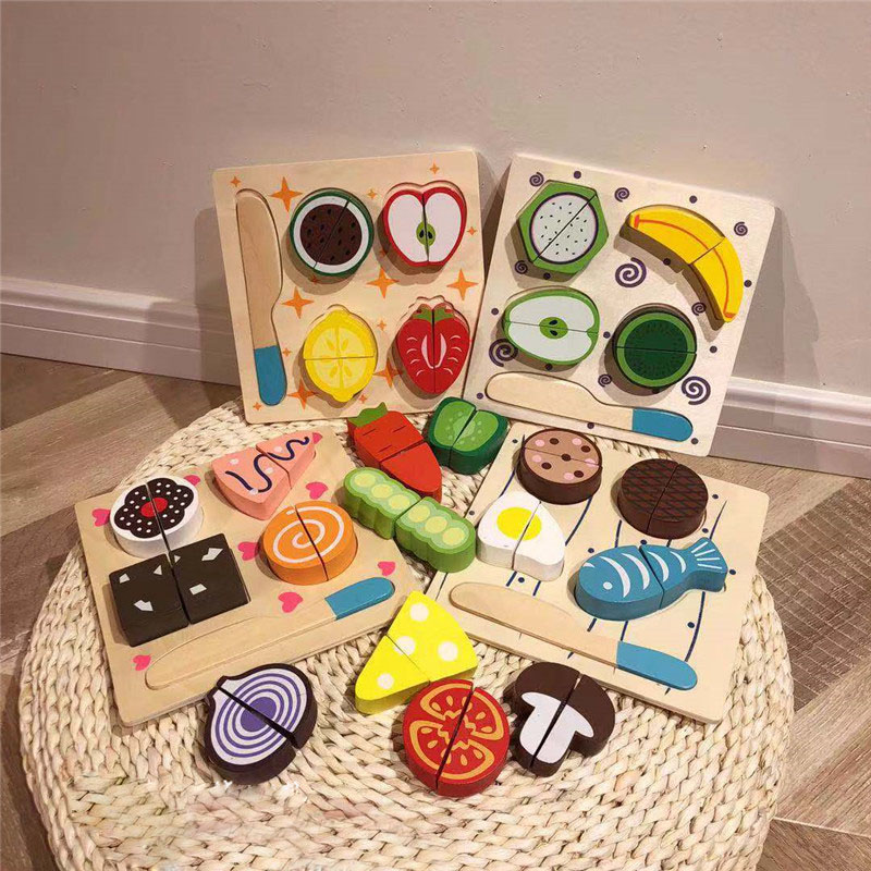 1 Set Safe Children Play House Toy Wooden Food Toy Cut Fruit Vegetable Kitchen Baby Kids Pretend Play Educational Toys