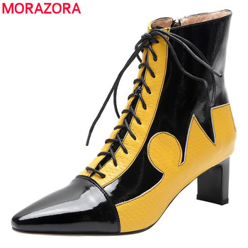 MORAZORA 2020 new arrive fashion high quality women boots thick high heels pointed toe lace up autumn shoes ankle boots