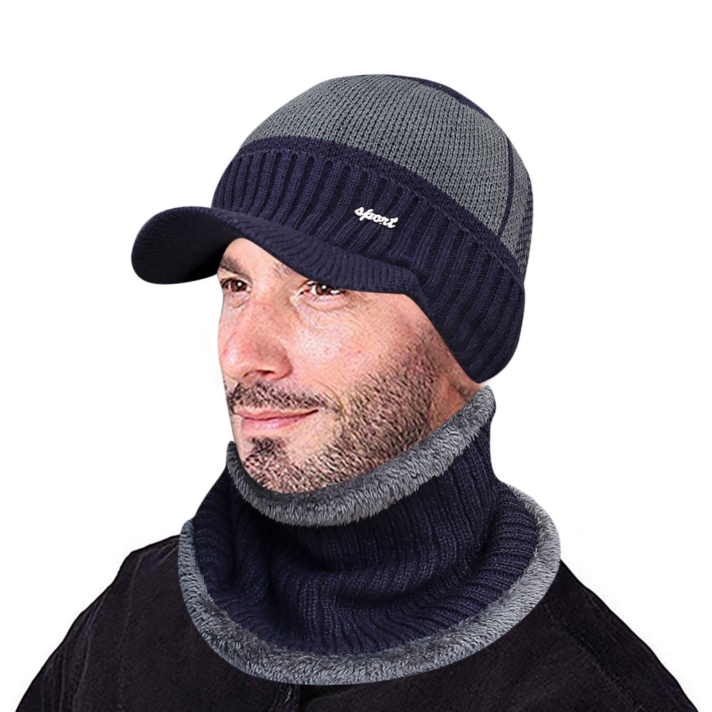 Winter Knitted Hat Scarf Set For Men Warm Thicken Fleece Beanie Hat Scarf Set Solid Windproof Outdoor Ski Cap Ring Scarf ##5