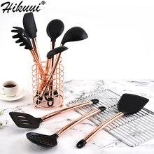 Herramientas de cocina de acero inoxidable, espátula y cazo, cuchara de silicona rosa dorada, juego de utensilios de cocina, 8 Uds.