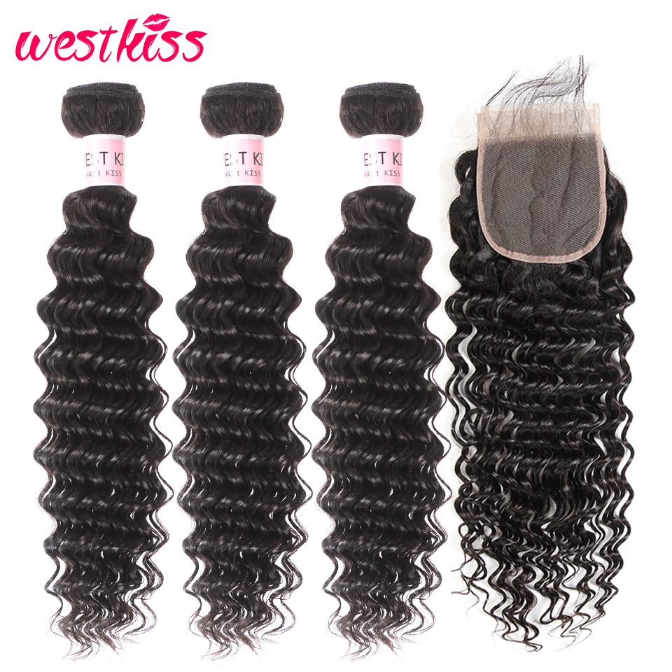 Deep-Wave-Bundles Closure Human-Hair West-Kiss Weave Natural-Color Brazilian with Remy title=