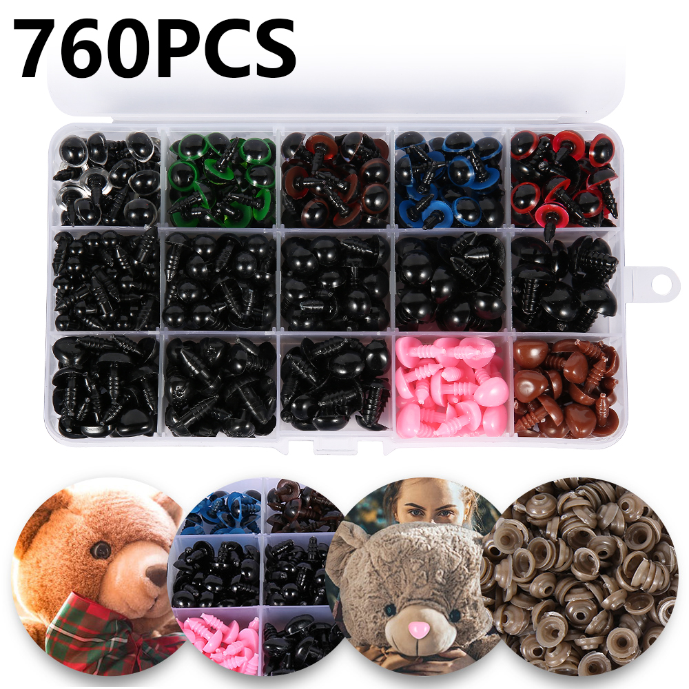 760pcs 6-14mm Colors Plastic Crafts Safety Eyes For Teddy Bear Dolls Soft Toy Nose Making Animal Amigurumi DIY Accessories