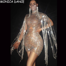 Fringe-Dress Dance-Costume Stones Birthday Silver Nightclub Women Celebrate Crystal Sparkly