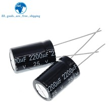 10 pièces condensateur électrolytique en aluminium 2200 uF 25 V 10*20mm frekuensi tinggi électrolytique Radial kapasitor