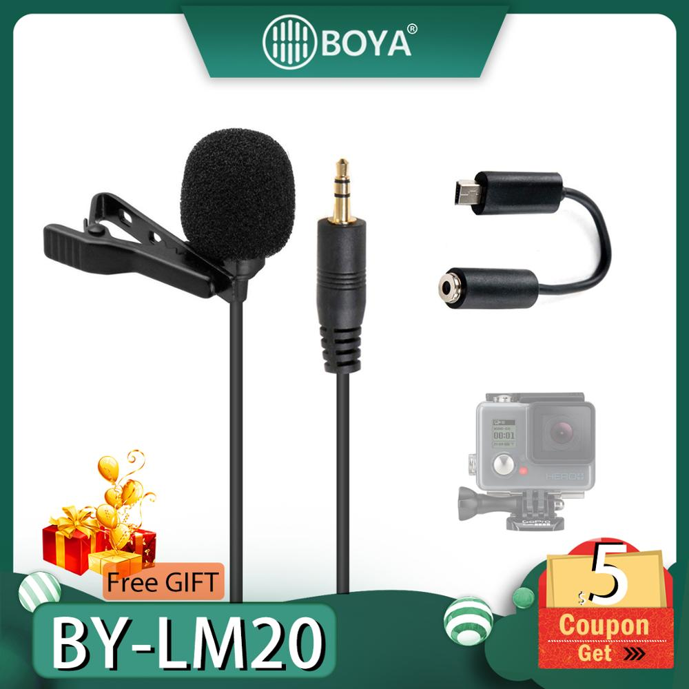 BOYA BY LM20 BY-LM20 Pro 3.5mm Clip Sports External Microphone Clip Mic Mini USB For GoPro Hero 4 3+ 2 Video