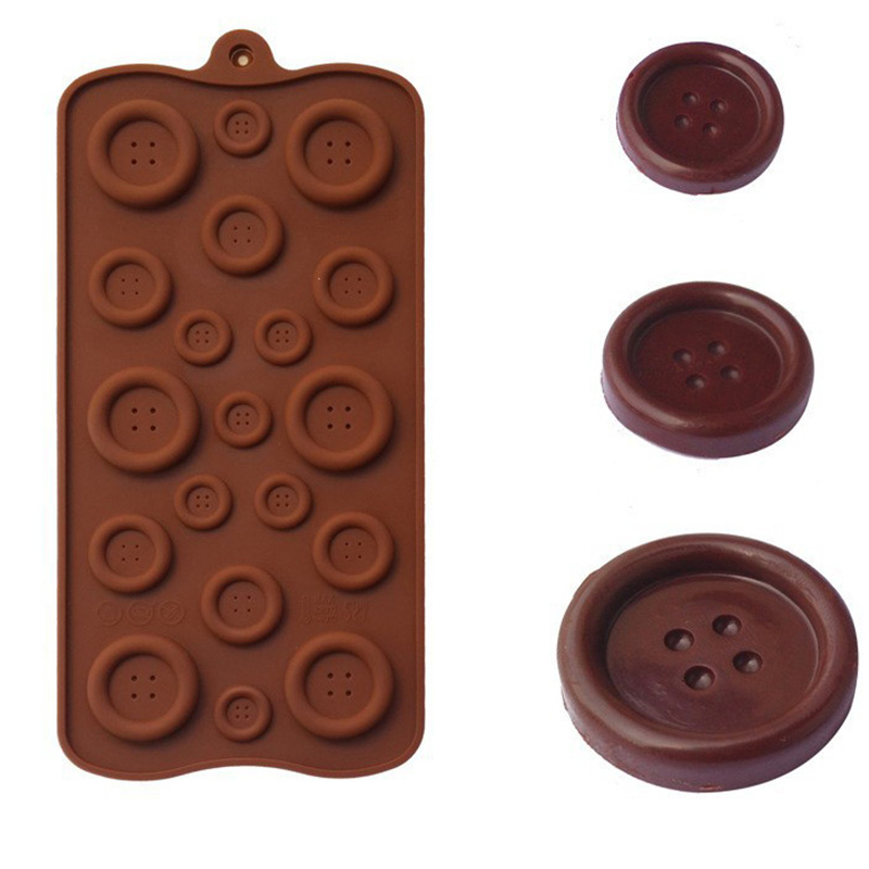 LHX Button Shape DIY Chocolate Ice Silicone Mold Biscuits Cookies Fondant Candy Cake Mould Cake Decoration Baking Tools HP1163c1