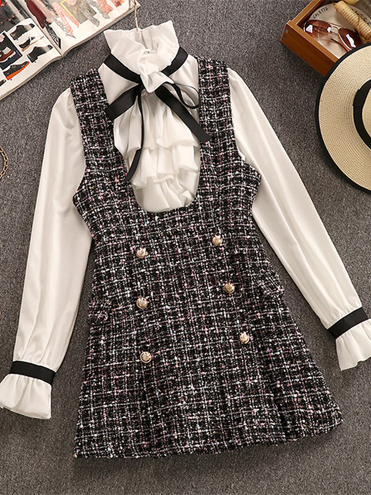 2020 Autumn Winter 2 Piece Set Overalls Dress Women Elegant Ruffles Chiffon Bow Shirt Top+Double Breasted Plaid Tweed Vest Dress