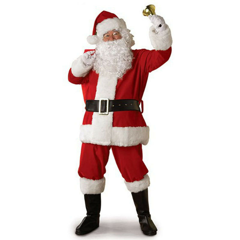 2019 Christmas Cosplay Santa Claus Costume Cothes 5PCS Fancy Dress Adult Suits Cosplay Outfits S-3XL Hot