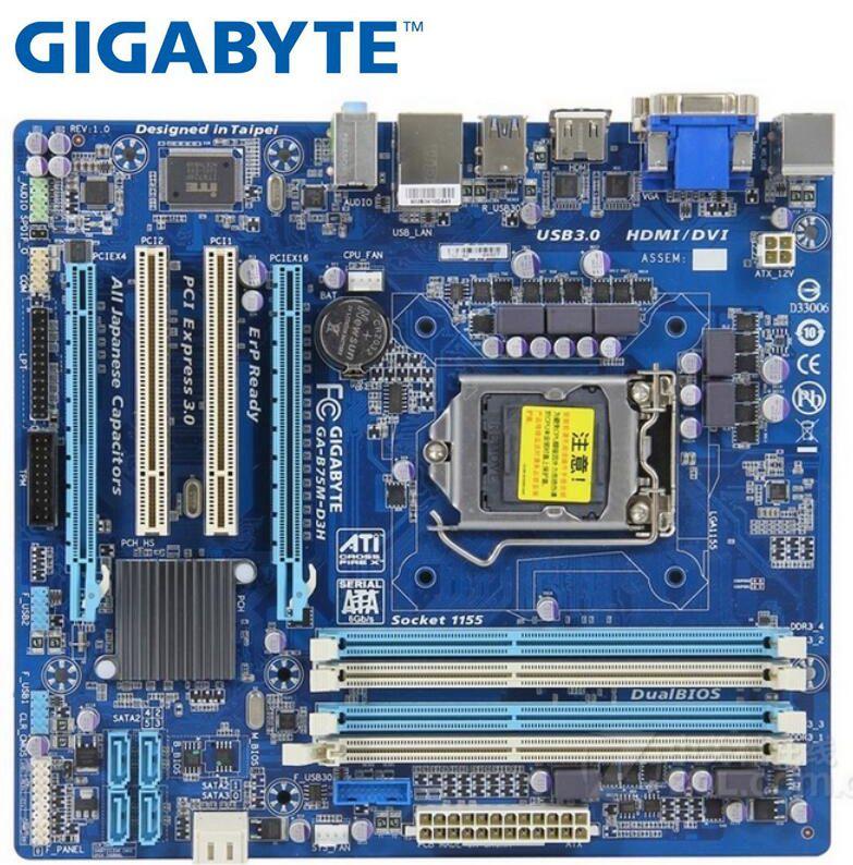 Gigabyte GA-B75M-D3H Used Motherboard  LGA 1155 DDR3 Boards B75M-D3H 32GB VGA DVI B75 Desktop Motherboard