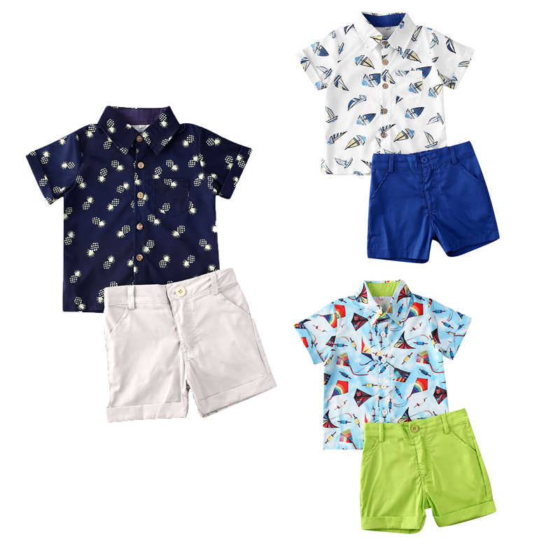 2020 Baby Summer Clothing Infant Toddler Kids Baby Boy Christening Gentleman Top Shirts Shorts Pineapple Outfit Suit Set
