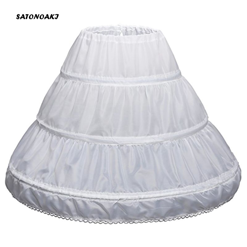 SATONOAKI White Children Petticoat A-Line 3 Hoops One Layer Kids Crinoline Lace Trim Flower Girl Dress Underskirt Elastic Waist