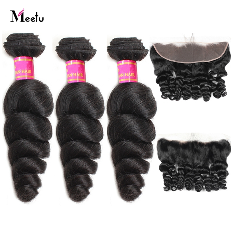 Meetu Hair Indian Loose Wave Bundles With Frontal Baby Hair 3 Pcs Human Hair Bundles With Frontal Closure 13X4 Inch Non Remy