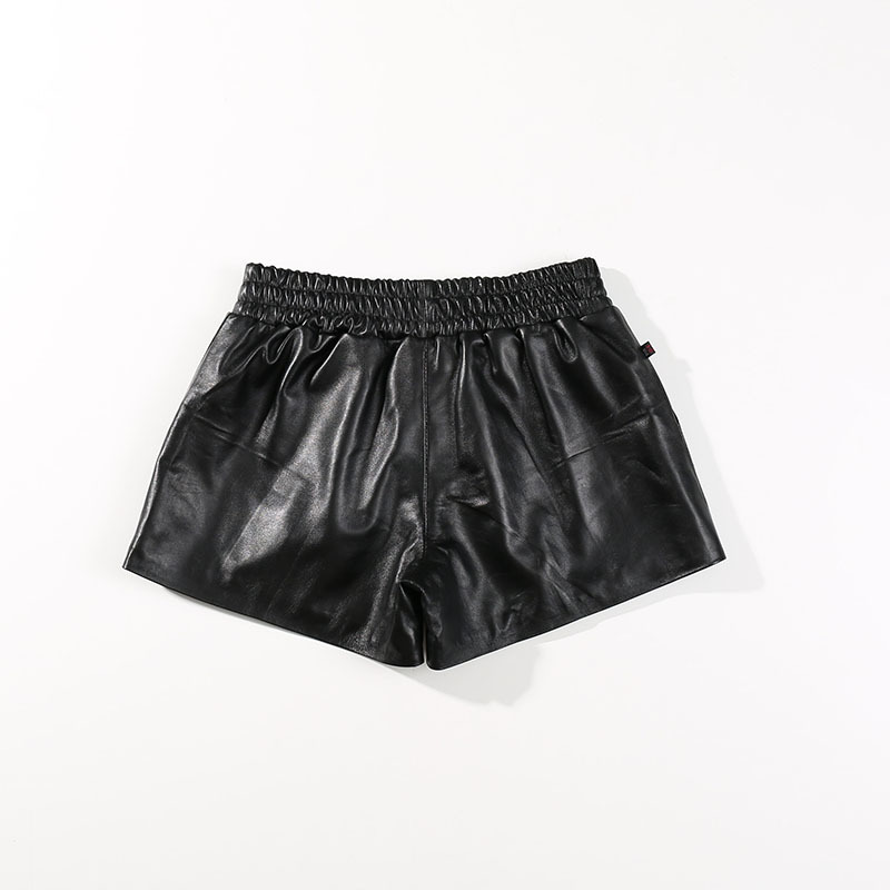 Women Genuine Leather Shorts Black Elastic Waist Korean Style Female Classic Short Pants Real Sheepskin Ladies Mini Sexy Shorts