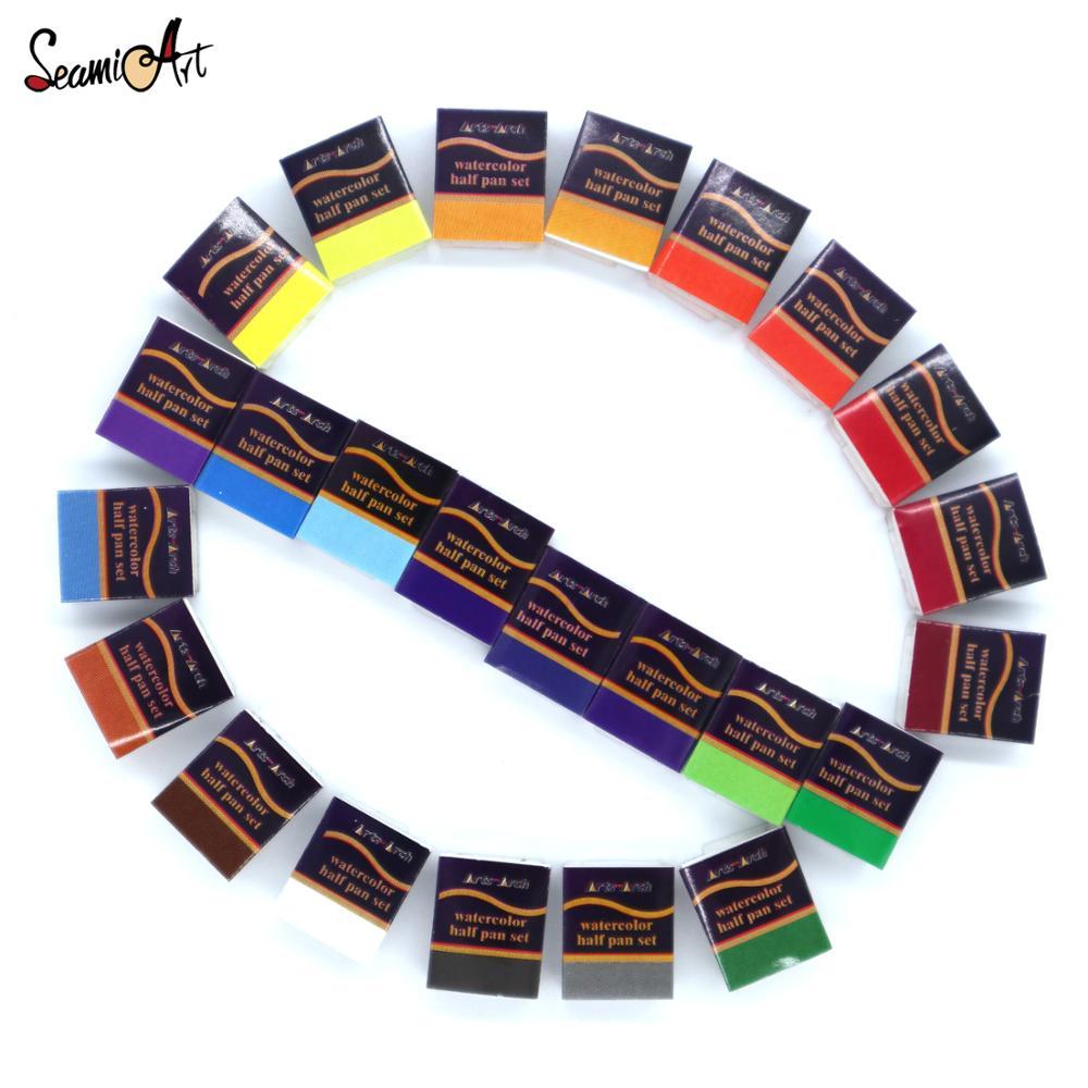 SeamiArt 24 цвета однотонная Акварельная кастрюля пигмент половина кастрюли Акварельная краска для художественного рисования