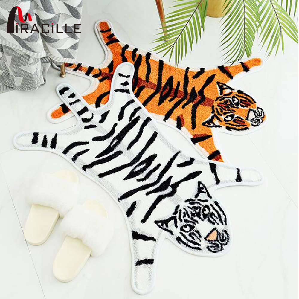 Miracille Cartoon Tiger Printed Rug Non-Slip Animals Carpet For Home Livingroom Door Mat Water Absorption Bath Mats
