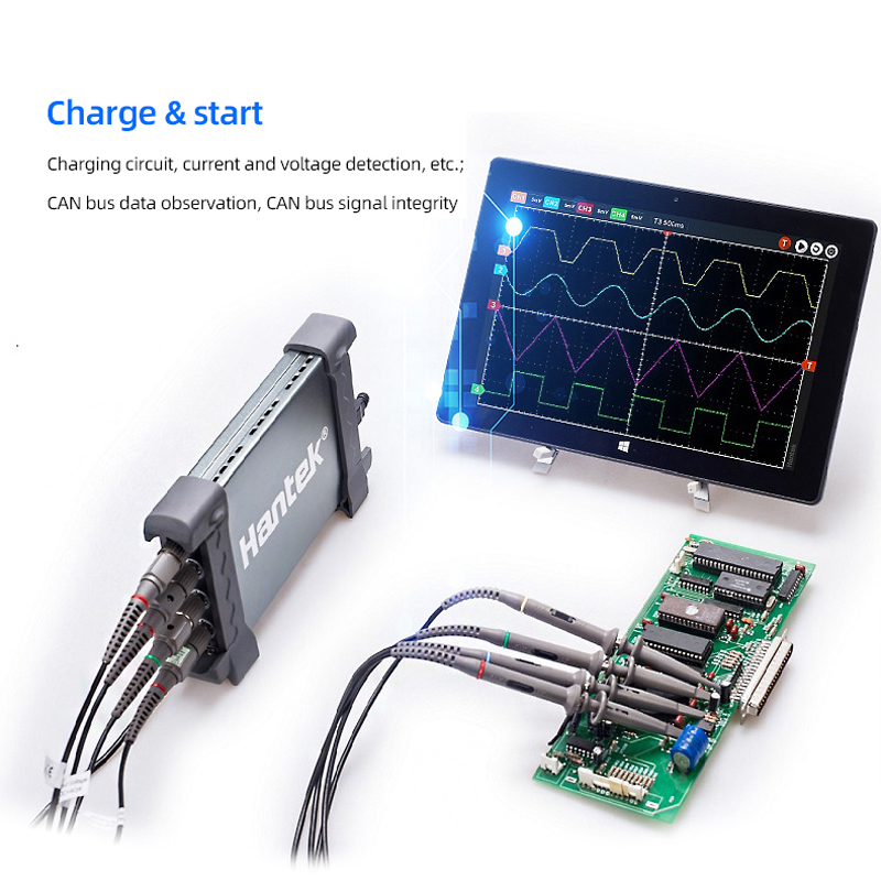 <font><b>Hantek</b></font> 6074BE USB virtual oscilloscope series, automatic digital diagnostic oscilloscope USB PC 1GSa / s 250MHz 4CH oscilloscope image