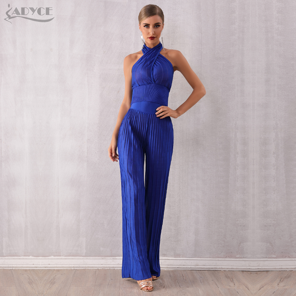 Adyce 2019 New Blue Sexy Sleeveless Two Pieces Sets Halter Short Top& Long Pants Women Fashion Celebrity Evening Club Party Sets