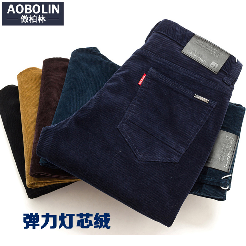 Trend Pants Men's Plus Velvet Casual Pants Men Slim Fit Straight-Cut Thick Warm Striped Pants Korean-style Corduroy Autumn And W