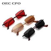 все цены на OEC CPO Small Square Sunglasses Men Women Brand Vintage Metal Frame Black Red Brown Lens Sun Glasses Women Unisex UV400  O220 онлайн