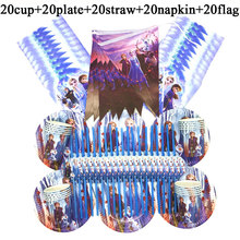 100PC Frozen 2 Theme Cup+Plate+Straw+Banner+Napkin Disposable Tableware Set For Kids Girl Happy Birthday Party Decorate Supplies