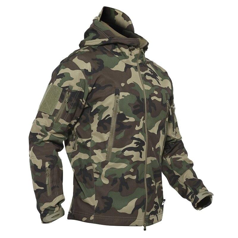 Outdoor Hunting Fishing Softshell Fleece Jacket Men\'s Waterproof Camping Hiking Jacket Warm Hooded Coats Windbreaker