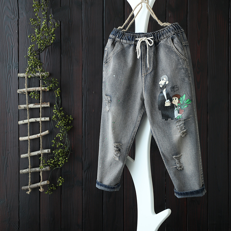 New Arrival Summer Women Elastic Waist Jean Capri Pants All-matched Casual Cotton Denim Vintage Loose Ripped Jeans S494