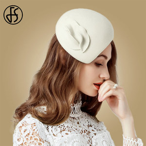 Image 2 - FS beyaz yün Fascinator şapka kadınlar için keçe pembe Pillbox şapkalar siyah bayanlar Vintage moda düğün Derby Fedora Chapeau Femme