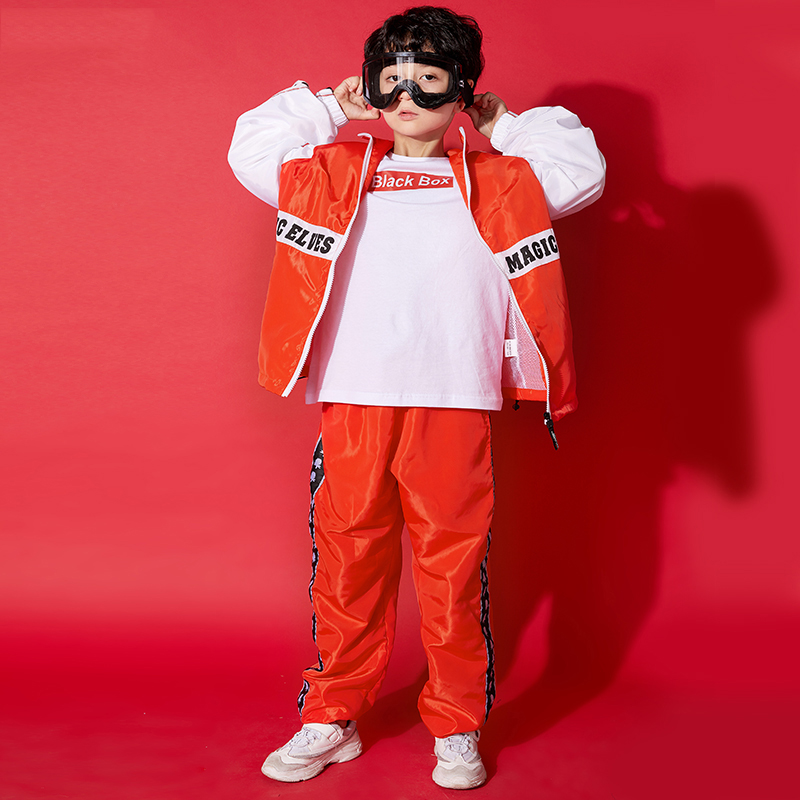 New Hiphop Kids Dance Costumes Red Street Dance Clothing Drum Costume T Stage Walk Show Children Street Wear For Boys BL1962