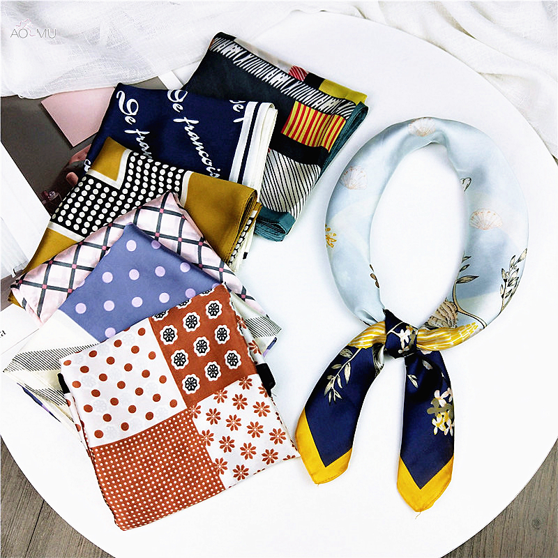AOMU Fashion 70*70cm Square Scarf Hair Tie Band For Date Party  Women Elegant Small Skinny Head Neck Silk Feel Satin Scarf
