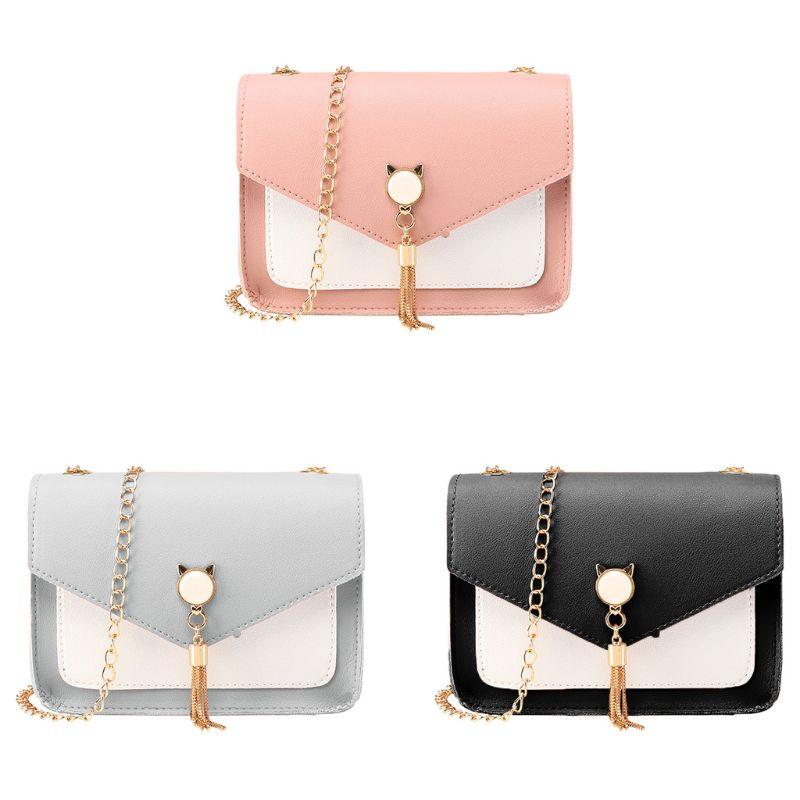 Women Handbag PU Leather Satchel Shoulder Bag Tassel Tote Ladies Crossbody Purse 35EF