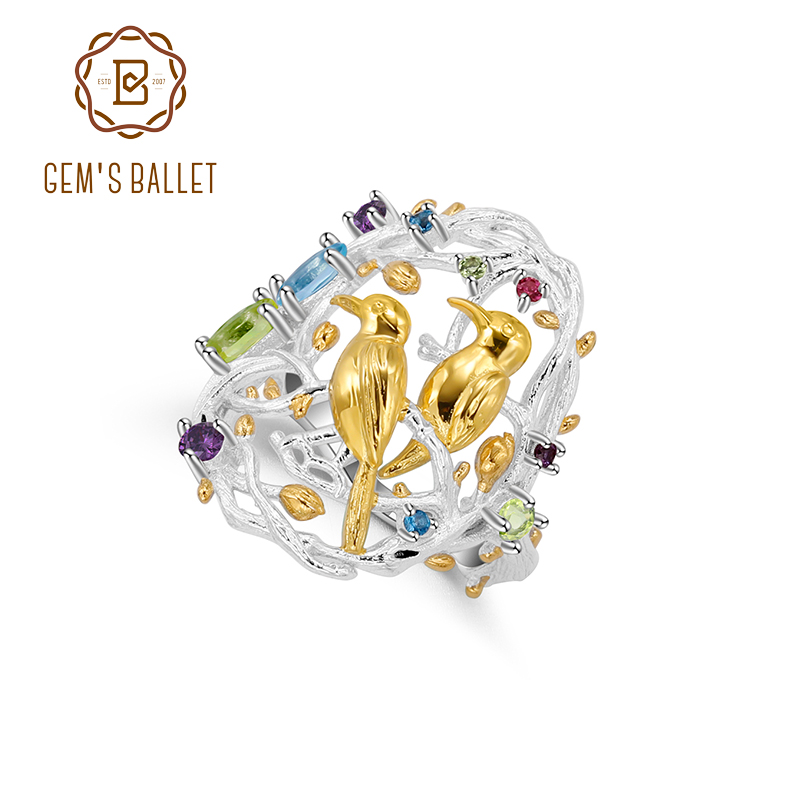 GEM'S BALLET Natural Multicolor Gemstones Statement Cocktail Ring 925 Sterling Silver Handmade Busy Garnet Jewelry for Women
