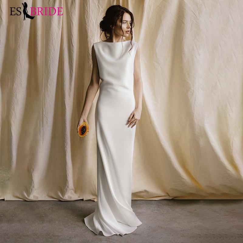 French Minimalist Bridal Backless Evening Dress