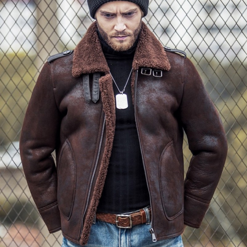 Sheep Shearing Mens Genuine Leather Flying Jackets Winter Thick Real Fur Lapel Epaulette Male Warm Outerwear Coats Plus Size 5XL