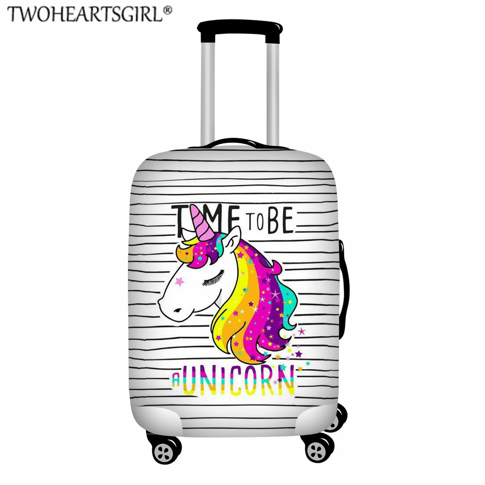 TWOHEARTSGIRL Elastic Thicken Suitcase Cover For Children Unicorn Print Cartoon Travel Accessories Dustproof Luagge Cover S-XL