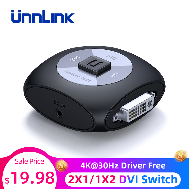 Unnlink DVI Switch Splitter Bi-Directional 2X1/1X2 4K@30Hz Driver Free Switcher For Computer PC Monitors