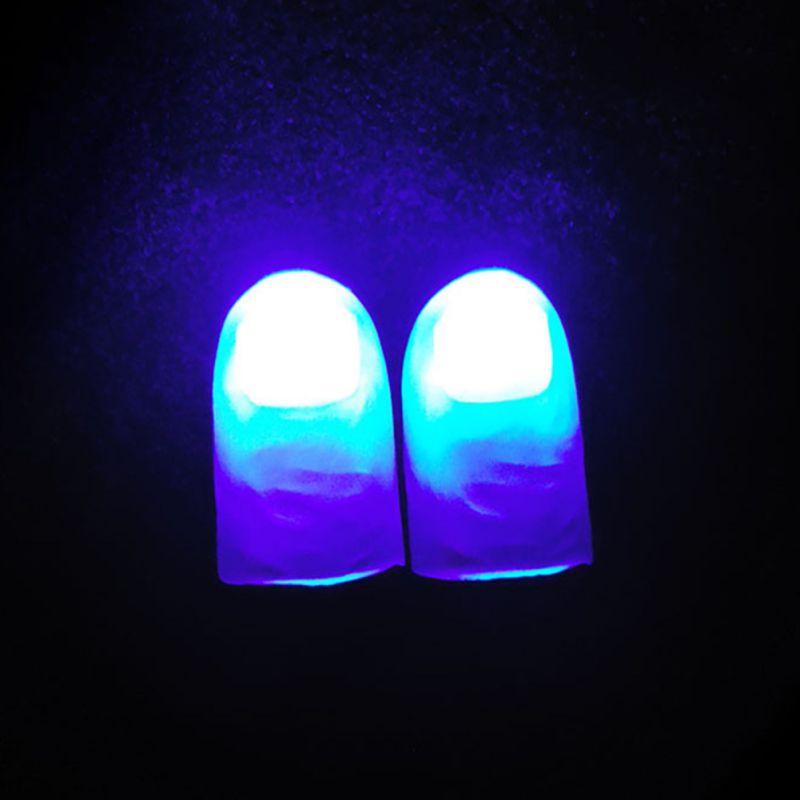 New 2 Pcs/set Kids High Quality Light Dancing Finger Light Thumb Light Finger Light Stage Funny Magic Props Set