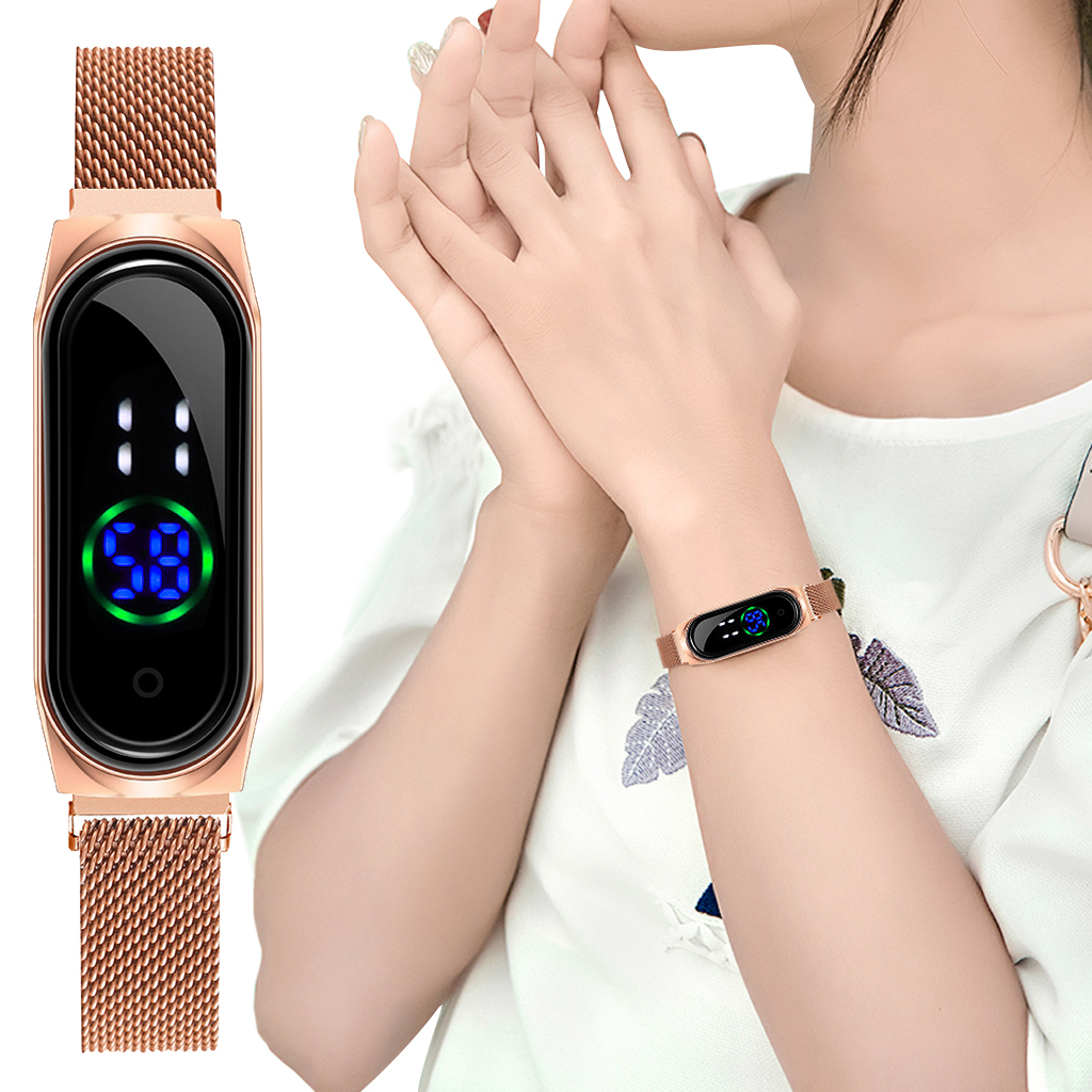 Ladies Watch Women Touch Screen LED Watches Rose Gold Magnetic Mesh Belt Electronic Clock Digital Wristwatches Relogio Feminino
