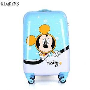 KLQDZMS 20-дюймовый высококачественный Дорожный чемодан, Детские Сумки на колесиках с мультипликационным рисунком, сумки на колесиках из АБС-пл...