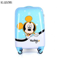 KLQDZMS 20inch high quality travel suitcase kids carry on cartoon trolley bags ABS PC rolling luggage spinner on wheels