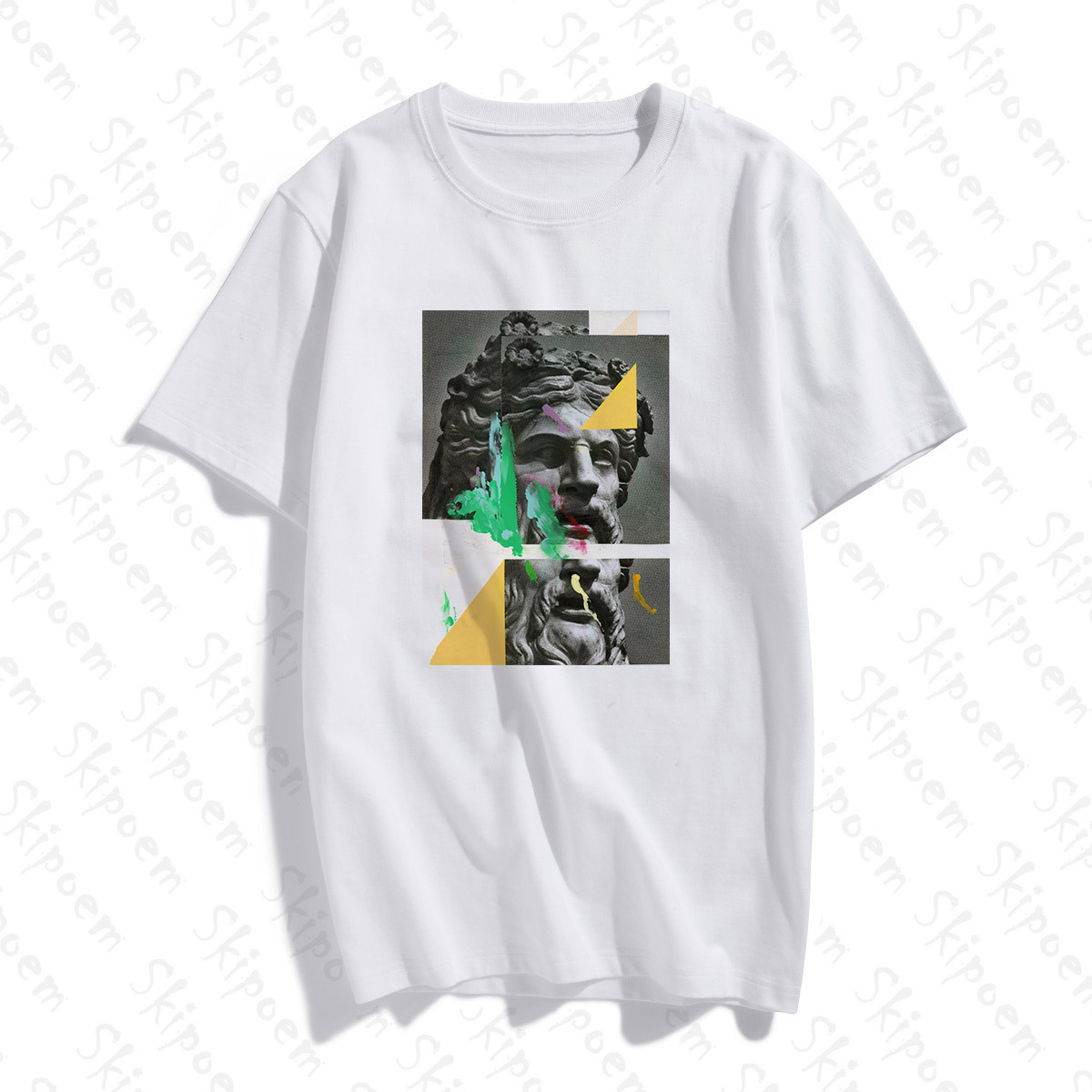 Fashion Modern Art Plaster Statue Tshirt Women Korean Style Vintage Gothic Punk Plus Size Cotton Short Sleeve Clothes Top Tees