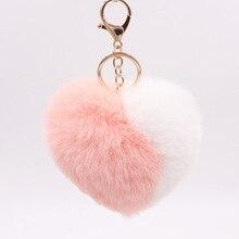Decorative-Pendant Keychains Keyring Bag-Accessories Plush-Balls Rainbow Women for Car
