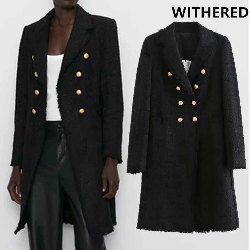 Verdorde winter wollen overjas engeland office lady goud double breasted lange blazers notched zwarte lange jas wollen overjas