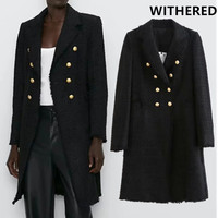 Withered winter woolen overcoat england office lady gold double breasted long blazers notched black long coat woolen overcoat