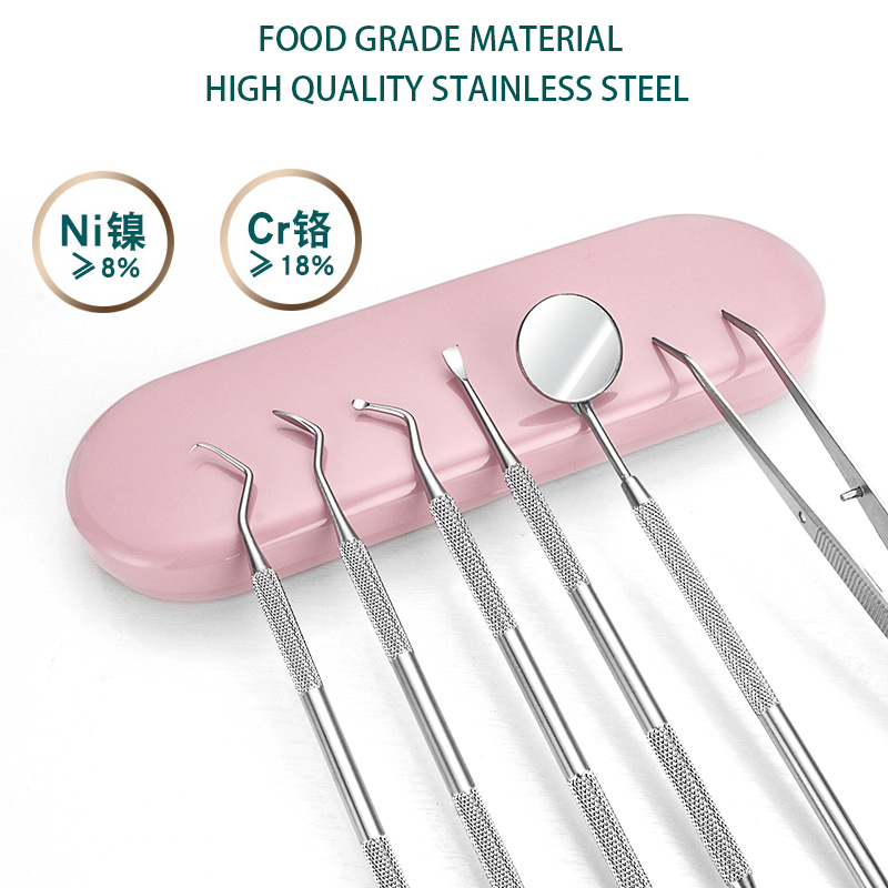 6 шт./кор. набор стоматологических зеркал, розовая коробка, серповидный скалер, шпатель для стоматологической лаборатории, инструменты для у...