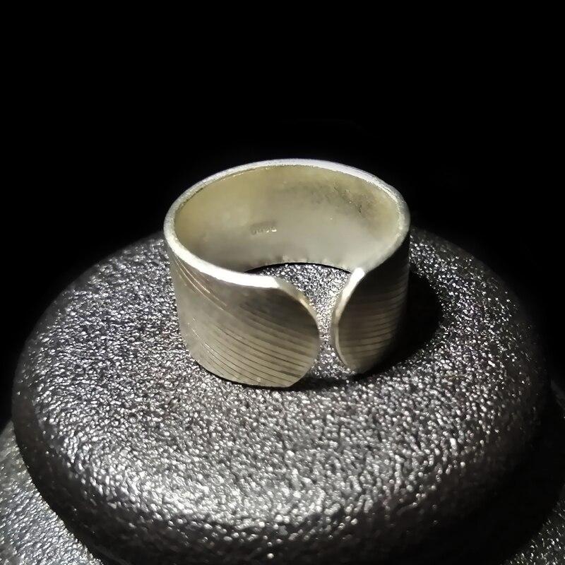 Ange ailes 999 en argent Sterling femmes anneaux Antique hommes coeur anneau réglable Vintage à la main Miao argent luxe bijoux unisexe - 3