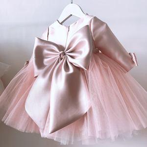 Розовые кружевные платья для маленьких девочек; платье для крещения; платье с бусинами и бантом для первого дня рождения, свадьбы, крестин; п...