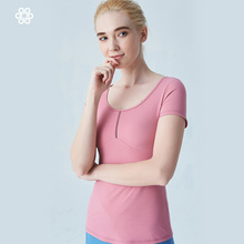 Women Yoga Shirts Vest Ladies Girls Short Sleeves Crop Top Sports Shirts Professional Fitness Gym Workout Running Slim Top New grey strip crop top with short sleeves