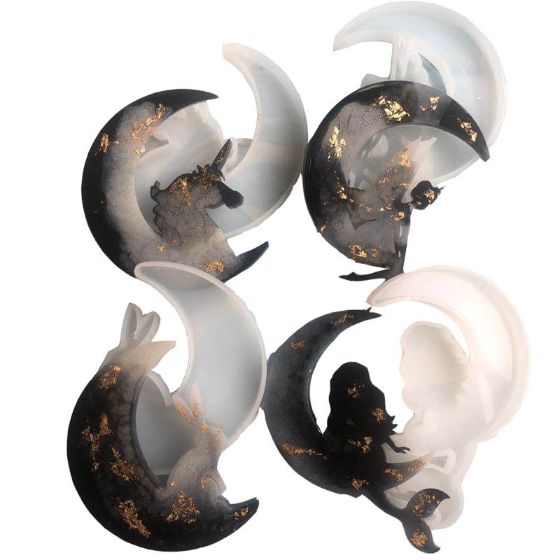 DIY Silicone Fairy Tale Moon Animal Listing Unicorn Angel Kitten Deer Mold Jewelry Tools UV Resin Molds