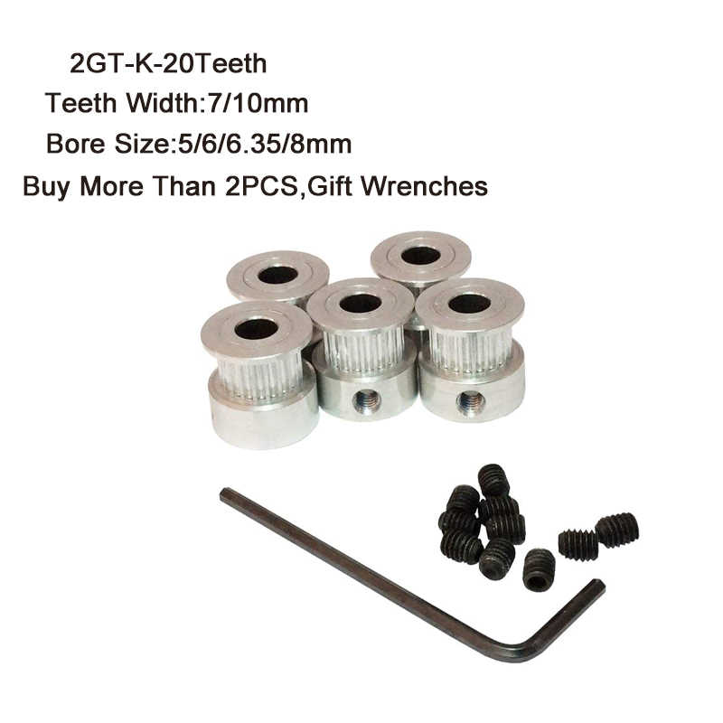 2GT-K עיתוי גלגלת 20 שיניים 5/6/6.35/8mm נשא 7/10mm שיניים רוחב GT2 Synchronou גלגל Fit GT2 חגורת רוחב 7 & 10mm 3D מדפסת חלקי